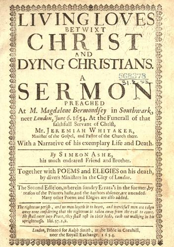 Living loves betwixt Christ and dying Christians.