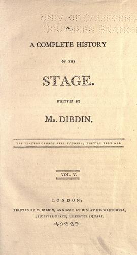 A complete history of the English stage.