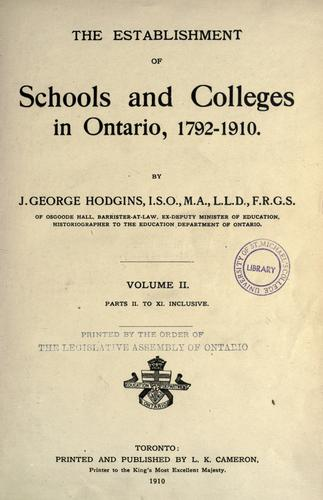 Download The establishment of schools and colleges in Ontario, 1792-1910.