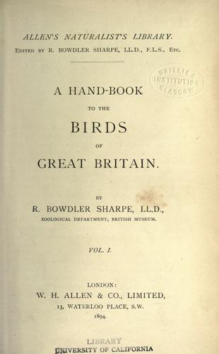 Download Hand-book to the birds of Great Britain.