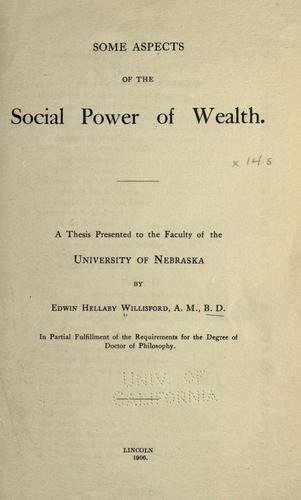 Download Some aspects of the social power of wealth …