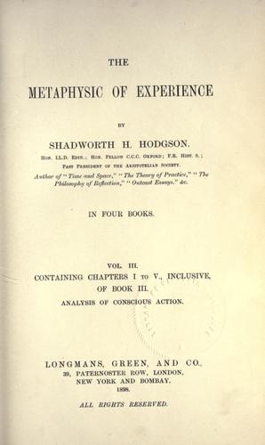 Download The metaphysic of experience.