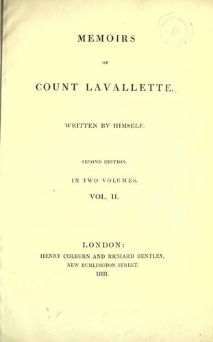 Memoirs of Count Lavallette.