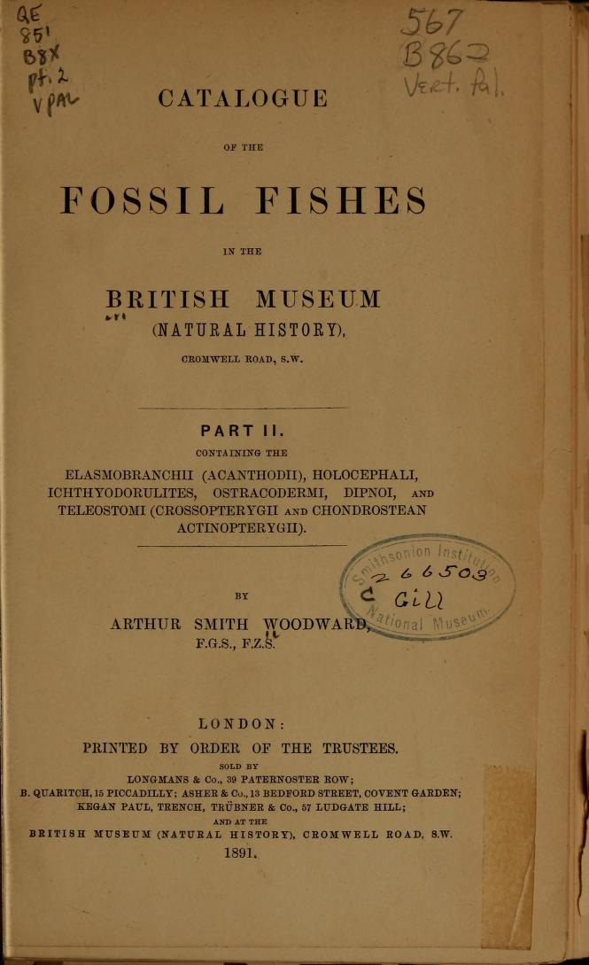 Catalogue of the Fossil Fishes in the British Museum (Natural History)