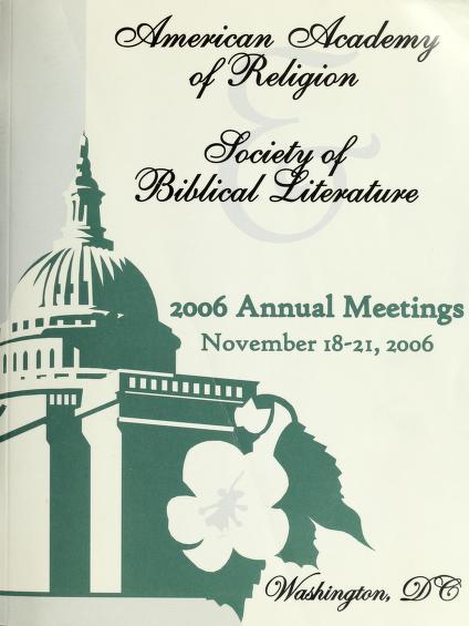 AAR/SBL annual meeting program by American Academy of Religion