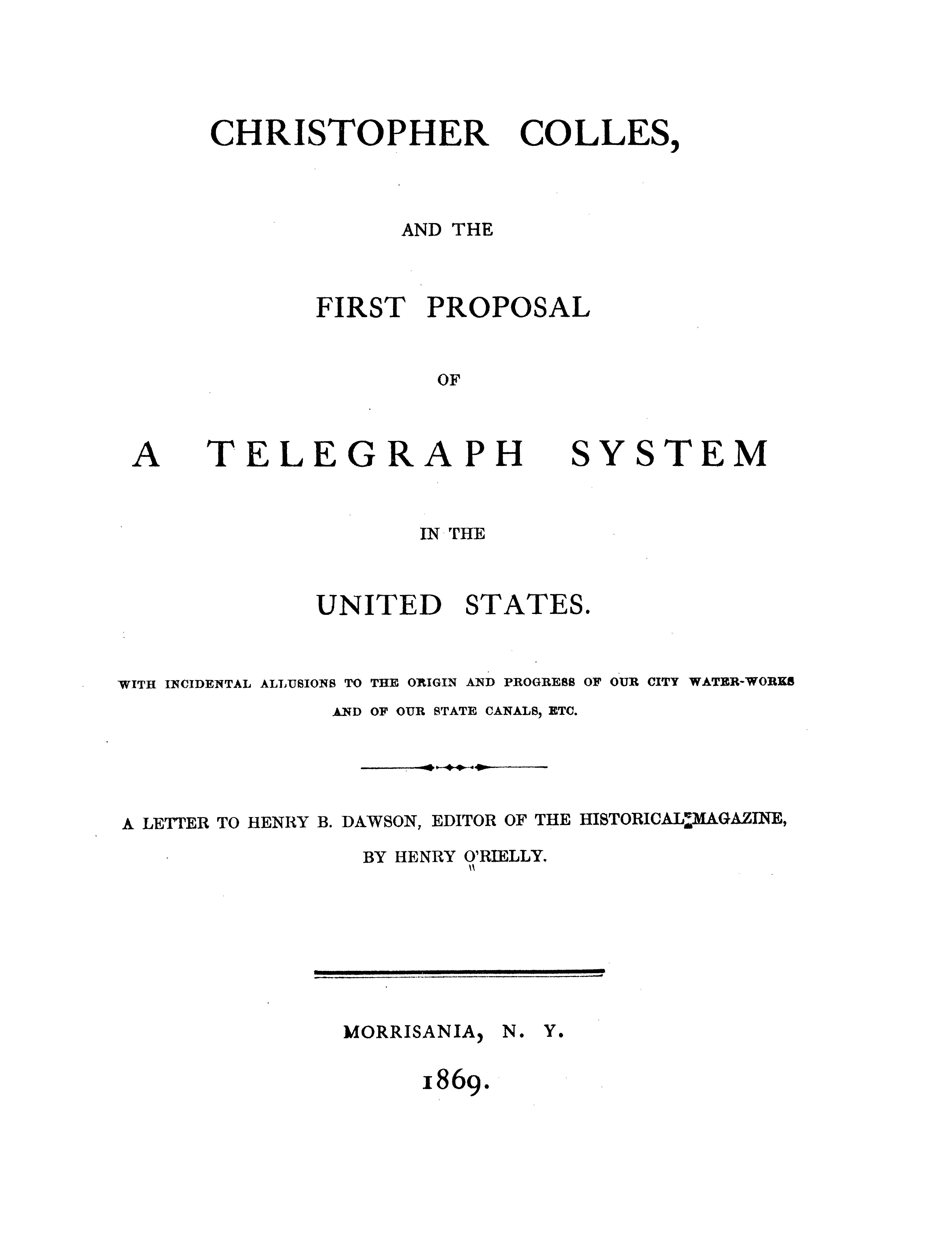 Cover of: Christopher Colles, and the first proposal of a telegraph system in the United States
