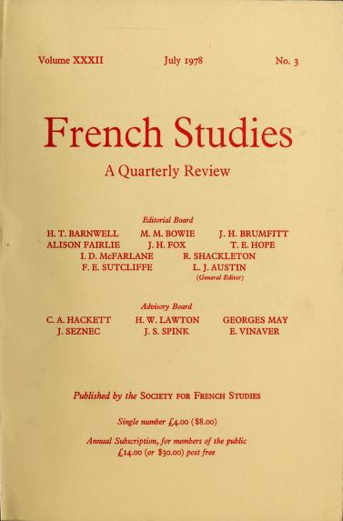 French studies by Society for French Studies (Great Britain)