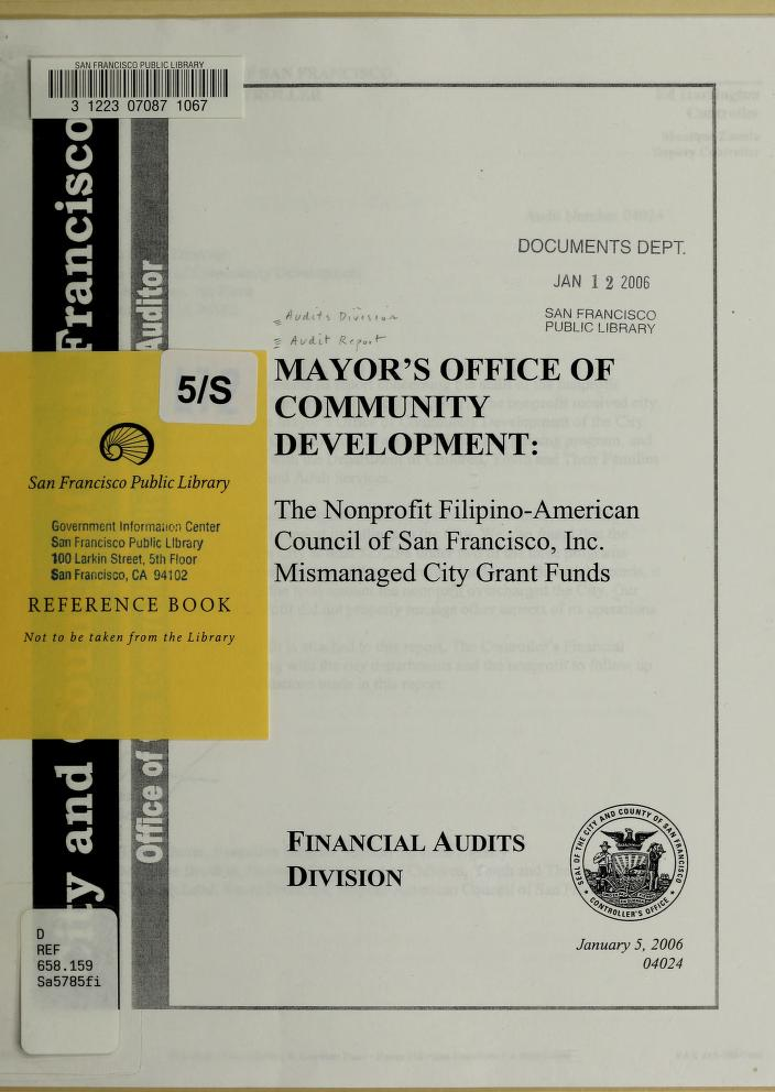 Mayor's Office of Community Development by San Francisco (Calif.). Office of the Controller. City Services Auditor Division.
