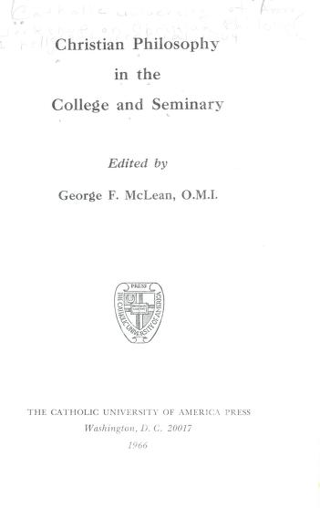 Philosophy and the integration of contemporary Catholic education by Workshop on Philosophy and the Integration of Contemporary Catholic Education (1961 Catholic University of America)