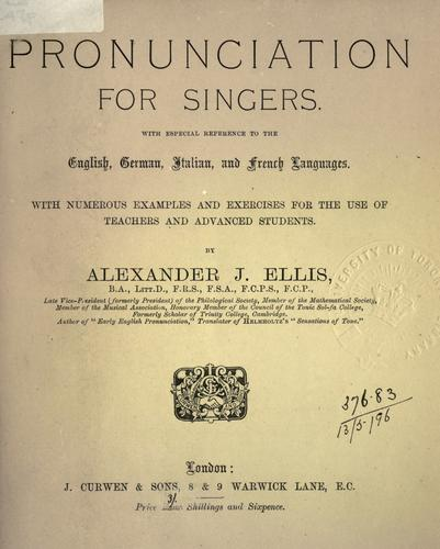 Pronunciation for singers