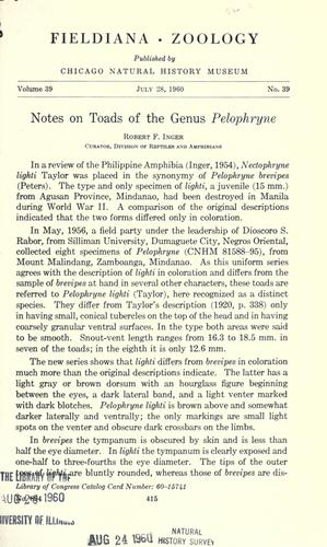 Notes on toads of the genus Pelophryne by Robert F. Inger