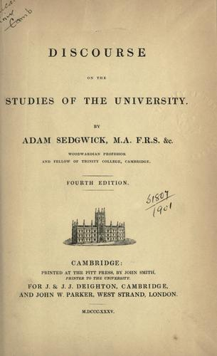 Discourse on the studies of the University.