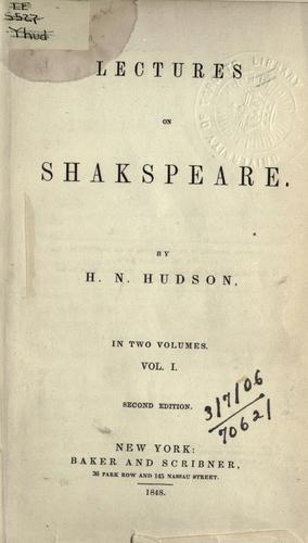 Lectures on Shakespeare.