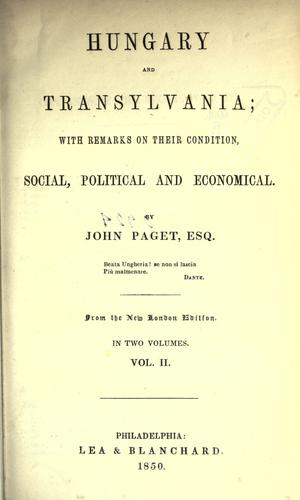Hungary and Transylvania by Paget, John