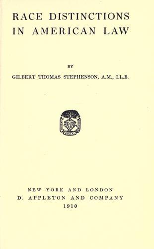 Race distinctions in American Law