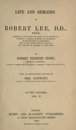 Life and remains of Robert Lee, D.D., F.R.S.E by Robert Herbert Story