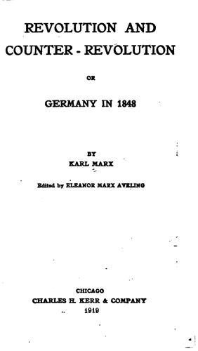 Revolution and Counter-revolution: Or, Germany in 1848 by Friedrich Engels