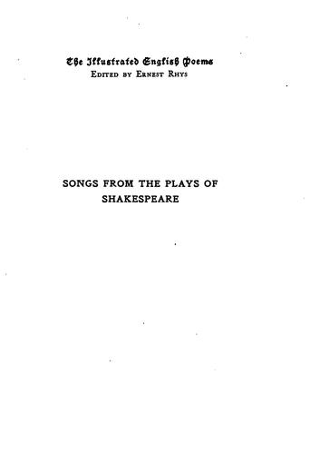 Songs from the Plays of Shakespeare by William Shakespeare, Paul Woodroffe , Ernest Rhys