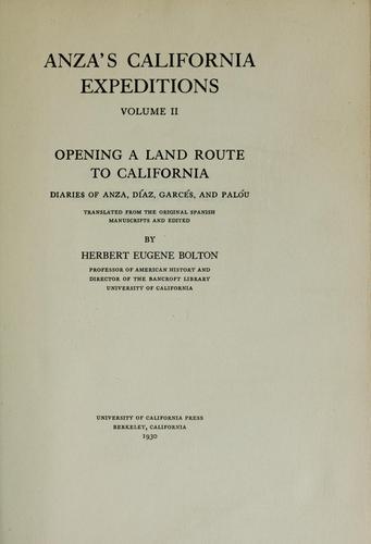 Anza's California expeditions, Vol. 2