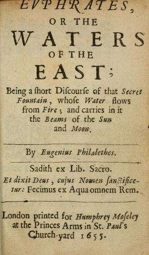Evphrates, or, The waters of the east by Vaughan, Thomas