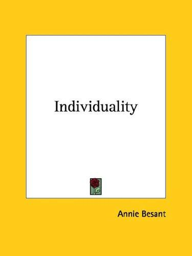 Individuality by Annie Wood Besant