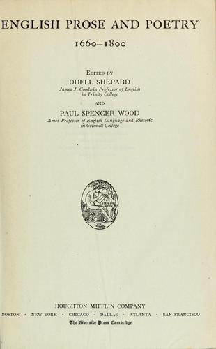 English prose and poetry, 1660-1800 by Odell Shepard