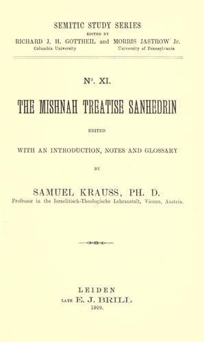 The Mishnah treatise Sanhedrin by