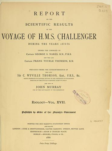 Report on the Isopoda collected by H. M. S. Challenger during the years 1873-76 by