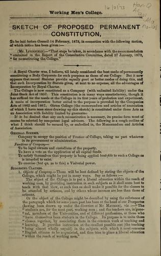 Sketch of proposed permanent constitution by R. B. Litchfield