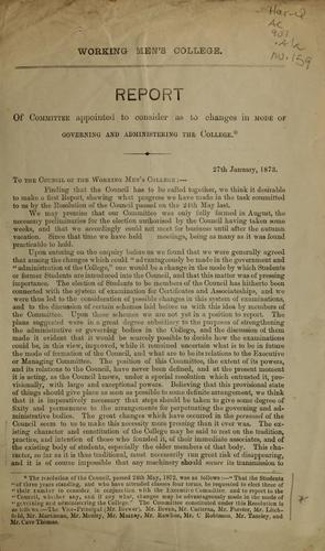 Report of committee appointed to consider as to changes in mode of governing and administering the College by R. B. Litchfield