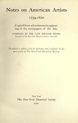 Notes on American artists, 1754-1820