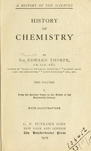 The history of chemistry by Thomson, Thomas