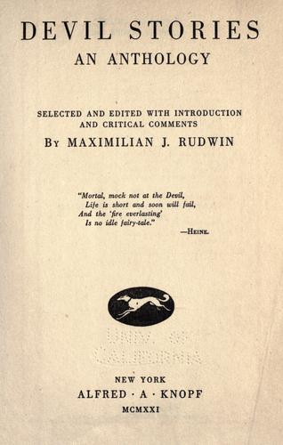 Devil stories by Maximilian J. Rudwin