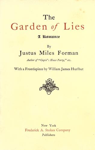 The garden of lies by Justus Miles Forman