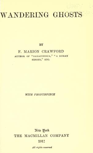 Wandering Ghosts by Francis Marion Crawford