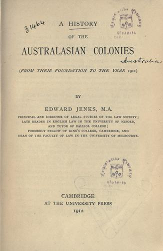 A history of the Australasian colonies