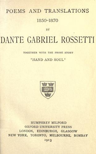 Poems & translations, 1850-1870