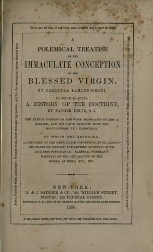 A polemical treatise on the Immaculate Conception of the Blessed Virgin by Luigi Lambruschini