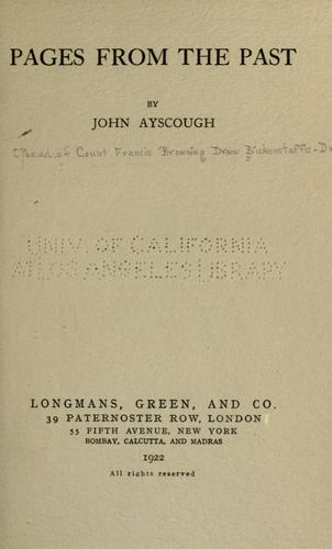 Pages from the past by John Ayscough