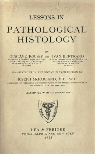 Lessons in pathological histology by Roussy, Gustave
